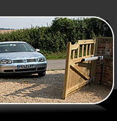 wood gate security open